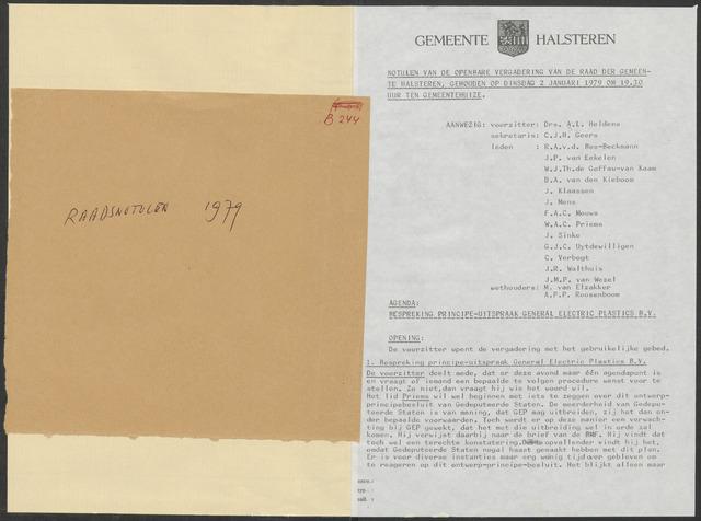 Halsteren: Notulen gemeenteraad, 1960-1996 1979