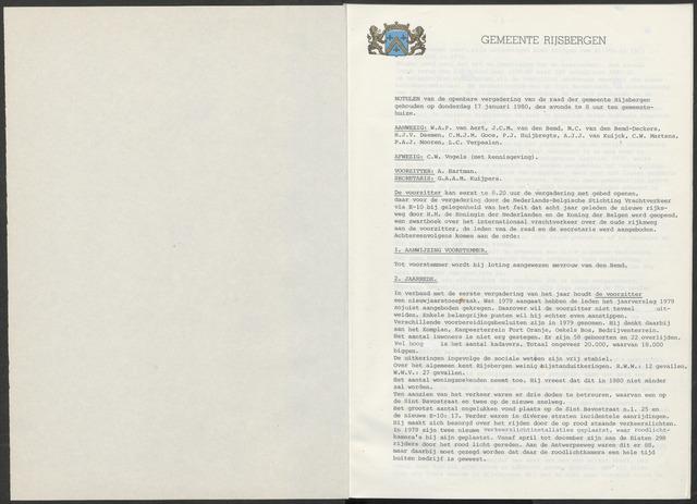 Rijsbergen: Notulen gemeenteraad, 1940-1996 1980