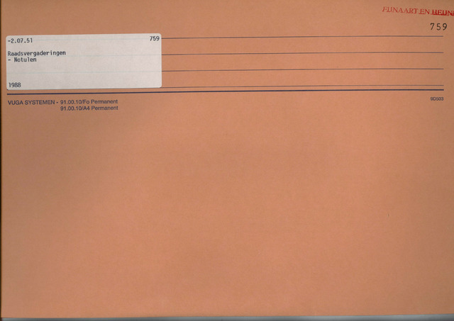 Fijnaart en Heijningen: notulen gemeenteraad, 1934-1995 1988