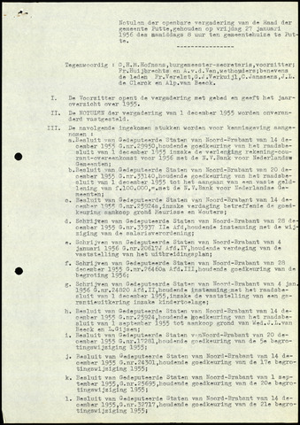 Putte: Notulen gemeenteraad, 1928-1996 1956-01-01