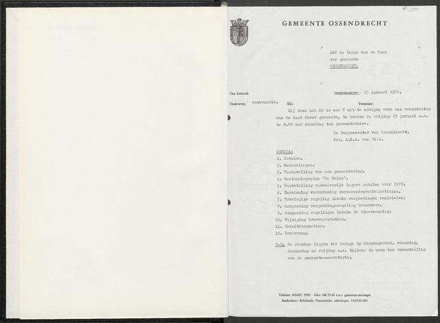 Ossendrecht: Notulen gemeenteraad, 1920-1996 1976