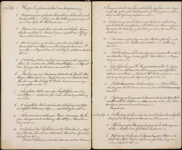 Roosendaal: Inhoudsopgaven notulen, 1849-1903 1891