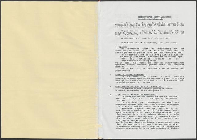 Nieuw-Vossemeer: Notulen gemeenteraad, 1957-1996 1994-01-01