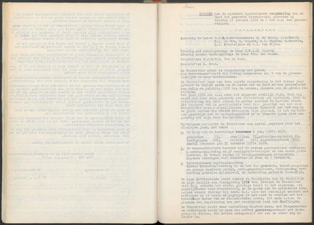Ossendrecht: Notulen gemeenteraad, 1920-1996 1958