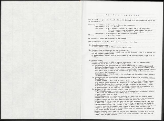 Woensdrecht: Notulen gemeenteraad, 1922-1996 1991-01-01