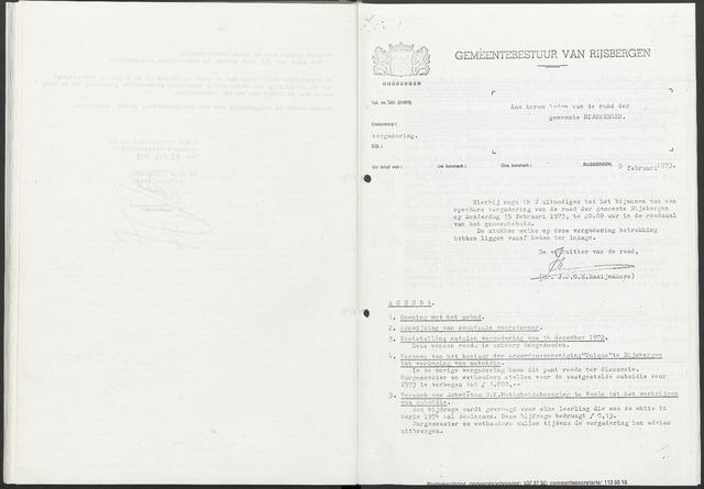 Rijsbergen: Notulen gemeenteraad, 1940-1996 1973