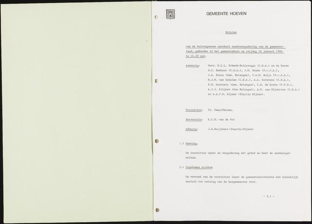 Hoeven: Notulen gemeenteraad, 1928-1996 1986-01-01