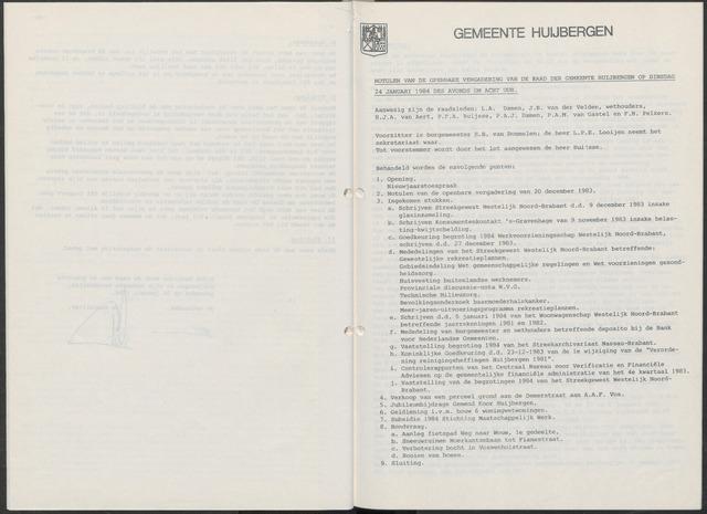 Huijbergen: Notulen gemeenteraad 1935-1996 1984-01-01