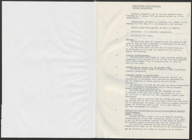 Nieuw-Vossemeer: Notulen gemeenteraad, 1957-1996 1991-01-01