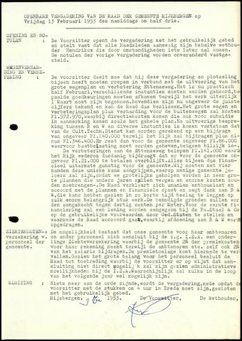 Rijsbergen: Notulen gemeenteraad, 1940-1996 1953