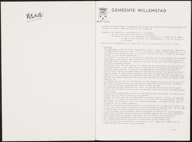 Willemstad: Notulen gemeenteraad, 1927-1995 1988-01-01