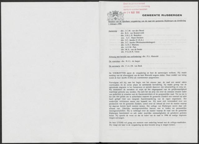 Rijsbergen: Notulen gemeenteraad, 1940-1996 1996