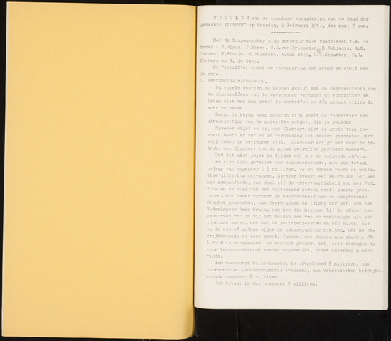 Klundert: Notulen gemeenteraad, mei 1933-1996 1954