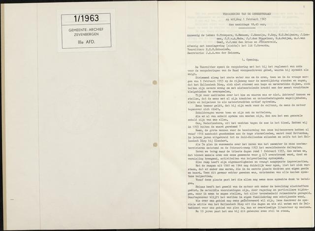 Zevenbergen: Notulen gemeenteraad, 1930-1996 1963-01-01