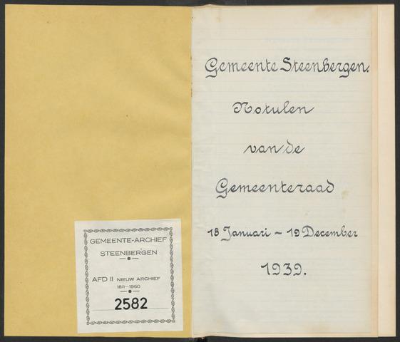 Steenbergen: Notulen gemeenteraad, 1920-1996 1939-01-01