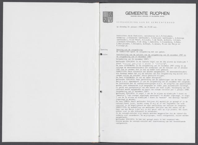 Rucphen: Notulen gemeenteraad, dec. 1949-1998 1988-01-01