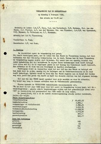 Oudenbosch: Notulen gemeenteraad, 1939-1994 1958-01-01