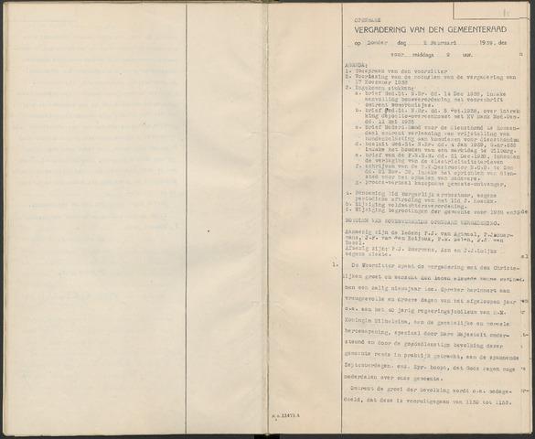 Huijbergen: Notulen gemeenteraad 1935-1996 1939-01-01