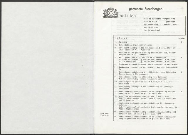 Steenbergen: Notulen gemeenteraad, 1920-1996 1972-01-01