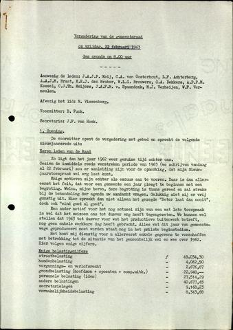 Oudenbosch: Notulen gemeenteraad, 1939-1994 1963-01-01