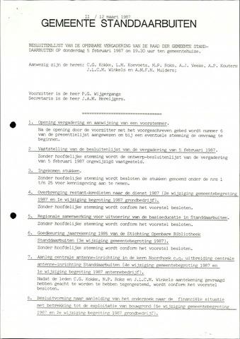 Standdaarbuiten: Notulen gemeenteraad, 1937-1996 1987-01-01