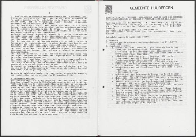 Huijbergen: Notulen gemeenteraad 1935-1996 1991-01-01
