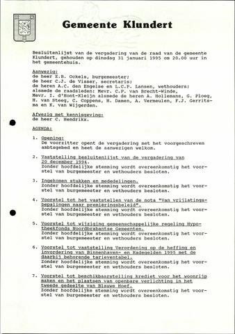 Klundert: Notulen gemeenteraad, mei 1933-1996 1995