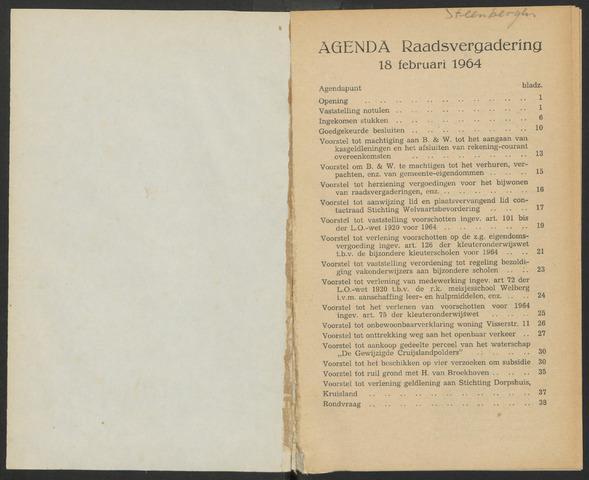 Steenbergen: Notulen gemeenteraad, 1920-1996 1964-01-01