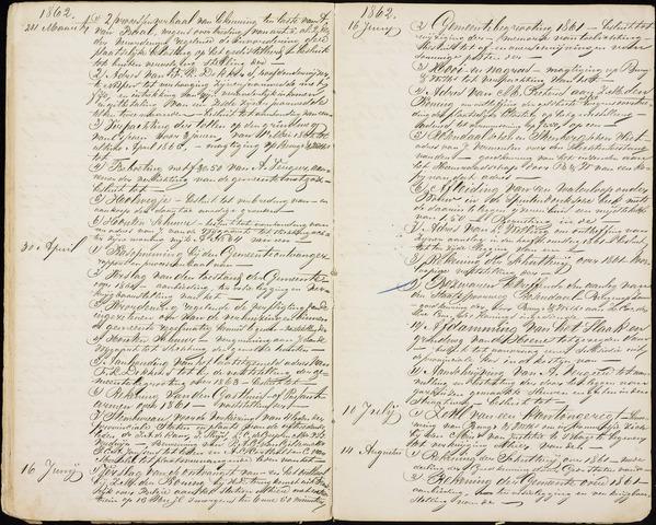 Roosendaal: Inhoudsopgaven notulen, 1849-1903 1862