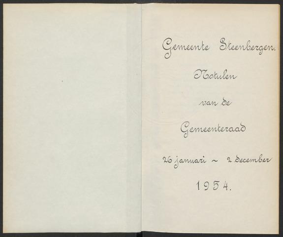 Steenbergen: Notulen gemeenteraad, 1920-1996 1954-01-01