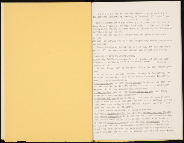 Klundert: Notulen gemeenteraad, mei 1933-1996 1951