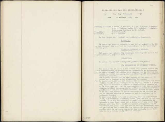 Zevenbergen: Notulen gemeenteraad, 1930-1996 1952-01-01