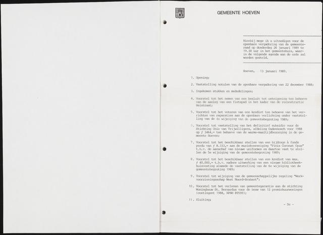 Hoeven: Notulen gemeenteraad, 1928-1996 1989-01-01