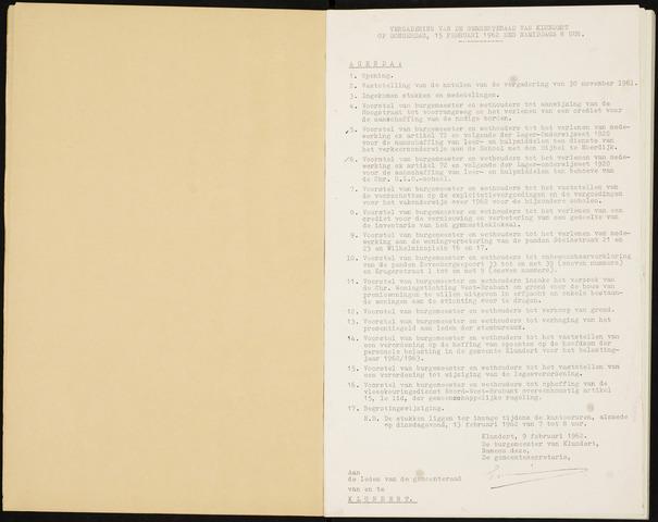 Klundert: Notulen gemeenteraad, mei 1933-1996 1962