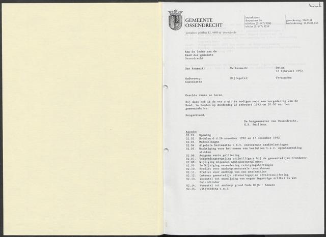 Ossendrecht: Notulen gemeenteraad, 1920-1996 1993