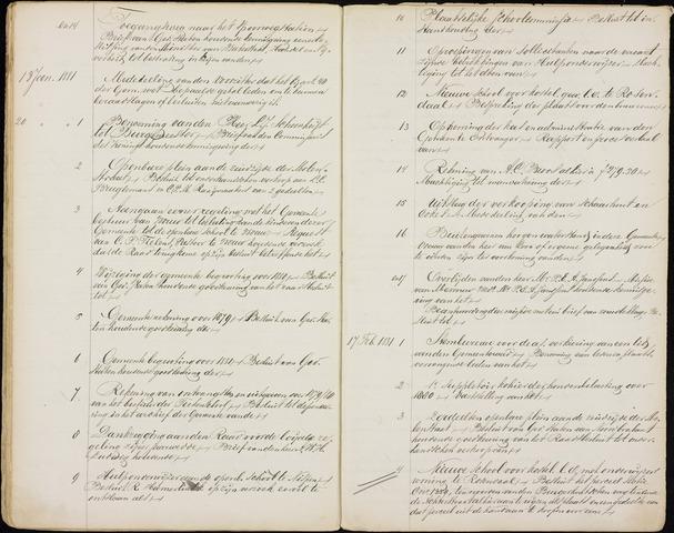 Roosendaal: Inhoudsopgaven notulen, 1849-1903 1881