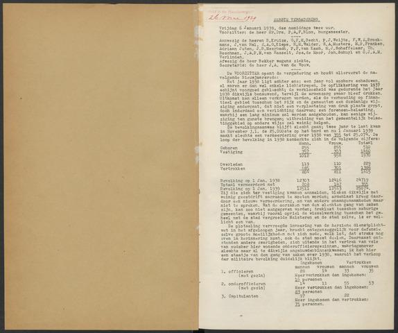 Bergen op Zoom: Notulen gemeenteraad, 1926-1996 1939-01-01