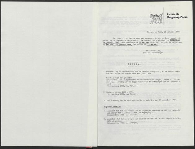 Bergen op Zoom: Notulen gemeenteraad, 1926-1996 1988-01-01