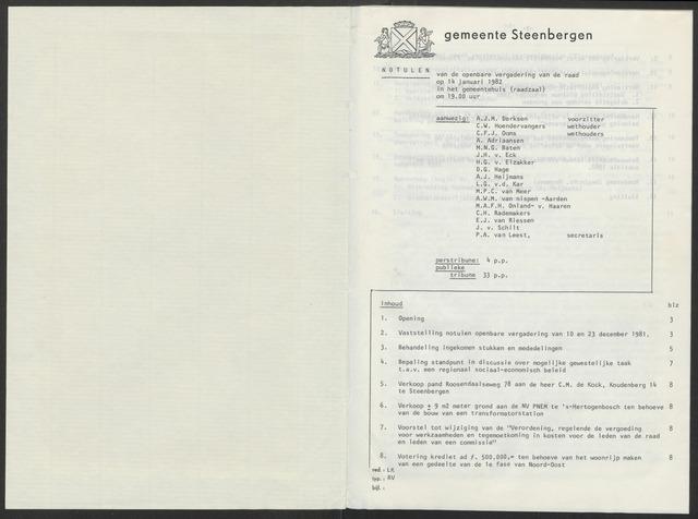 Steenbergen: Notulen gemeenteraad, 1920-1996 1982-01-01