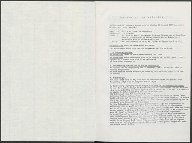 Woensdrecht: Notulen gemeenteraad, 1922-1996 1987-01-01