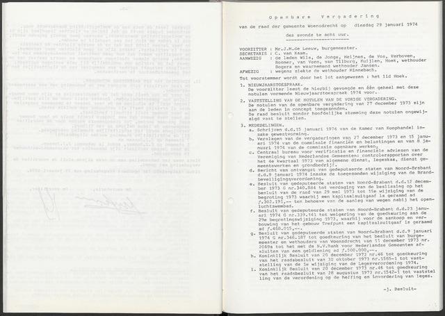 Woensdrecht: Notulen gemeenteraad, 1922-1996 1974-01-01