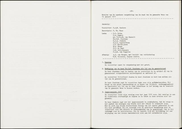 Wouw: Notulen gemeenteraad, 1813-1996 1977