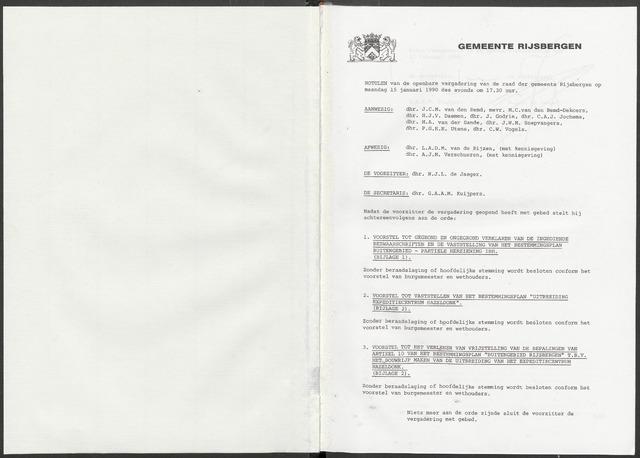 Rijsbergen: Notulen gemeenteraad, 1940-1996 1990