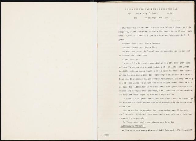 Fijnaart en Heijningen: notulen gemeenteraad, 1934-1995 1934