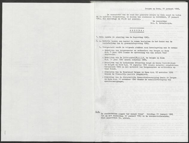 Bergen op Zoom: Notulen gemeenteraad, 1926-1996 1983-01-01