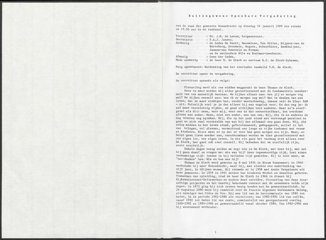 Woensdrecht: Notulen gemeenteraad, 1922-1996 1989-01-01
