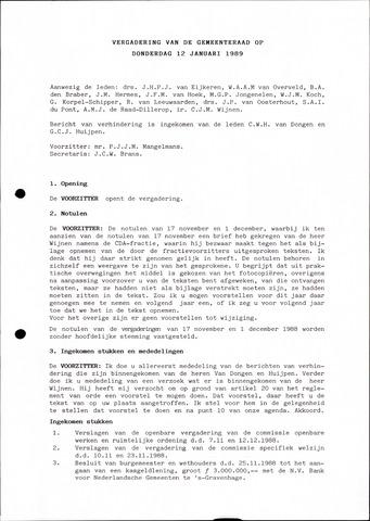 Oudenbosch: Notulen gemeenteraad, 1939-1994 1989-01-01