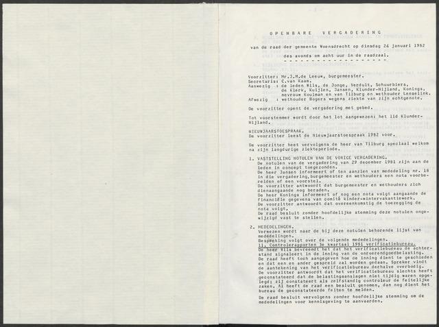 Woensdrecht: Notulen gemeenteraad, 1922-1996 1982-01-01