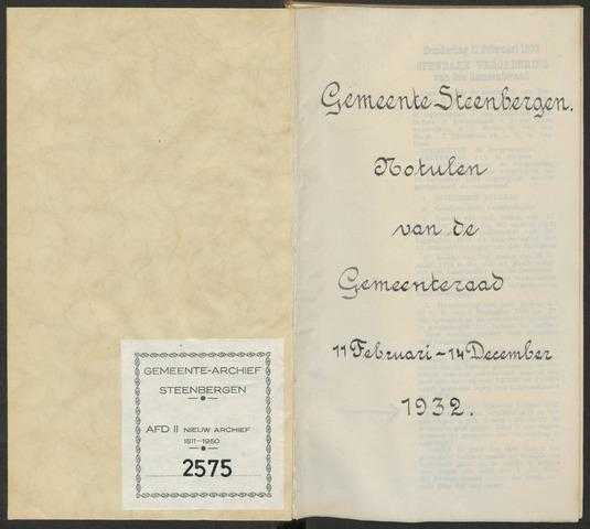 Steenbergen: Notulen gemeenteraad, 1920-1996 1932-01-01