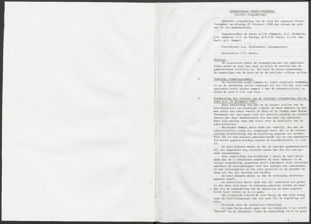 Nieuw-Vossemeer: Notulen gemeenteraad, 1957-1996 1988-01-01